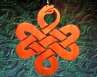 Double Sided Solid Wood Celtic Snake Ornament in Spanish Cedar