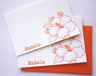 Hibiscus Flower Letterpress Cards with Muslin Sack Aloha Mahalo Orange