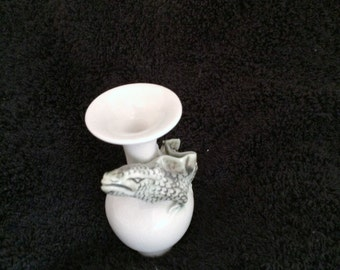 Vase, Small Porcelain Handmade  with Applied Monster-like Serpent and Clear Glaze