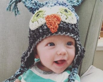 Baby Hat - Blue and Gray -Owl Hat - Baby Owl Hat - Newborn Owl Hat -Two toned Cute and Soft Earflap - by JoJosBootique