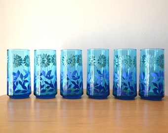 Vintage Blue Glass Floral Painted Drinking Glasses
