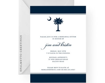 South Carolina Invitations with Palmetto Tree and Moon Rehearsal Dinner, Birthday, Anniversary, Graduation, Prom by Palmetto Greetings