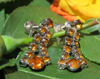 Rhinestone Burnt Orange Vintage Earrings