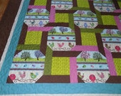 Bird Garden Quilt, Fanciful, large lap, twin or double bed cover