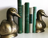 Vintage Duck Solid Brass Bookends
