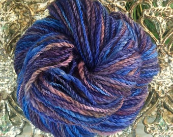 Handspun Blue faced Leicester Hand Painted Worsted Yarn in Midnight Blue, Purple, and Deep Plum