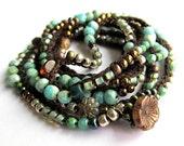 "Beaded boho wrap bracelet / necklace, ""wishes"", aqua, bohemian jewelry, crochet jewelry, semi precious, fall fashion, gift for her, ooak"