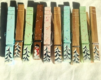 WINTER TREES CLOTHESPINS hand painted snowman natural wood pastel magnets Christmas decor