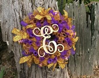 LSU Wreath, Wreath, LSU Decor, LSU, Purple and Gold Decor