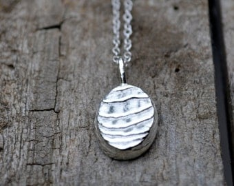SILVER cuttlefish cast pendant, handmade, necklace, modern, 925, natural texture, silver chain, gift for her