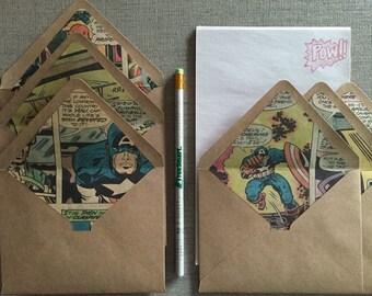 Comic Book Letter Writing Set-Comic Book Lined Kraft Envelopes--Marvel or DC Comics