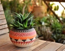 Made To Order Ceramic planter pottery Navajo inspiration Carved  sgraffito Vase home deco GEO  Aztec Geometric Wheel thrown vase