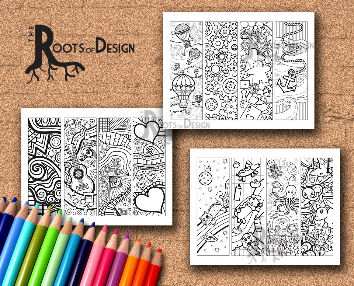 INSTANT DOWNLOAD Coloring Page Color Your Own Fun Bookmarks