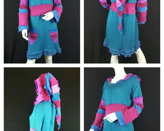 Patchwork sweater dress with an elf hood upcycled by Niknok wool-free and vegan