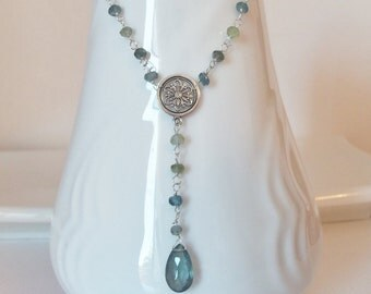 Steely Blue Aquamarine Gemstone Wire Wrapped Handmade Necklace with Sterling Silver Long Necklace