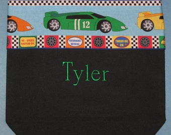 Personalized preschool tote bag for boys racing cars black canvas kids daycare library book bag little boy birthday Ring Bearer gift idea