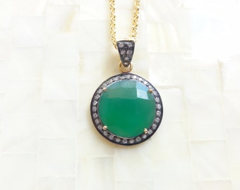 Luxurious Faceted Green Onyx & White Topaz Pave Vermeil Bezel Round Pendant on Gold Chain Necklace (N1756)