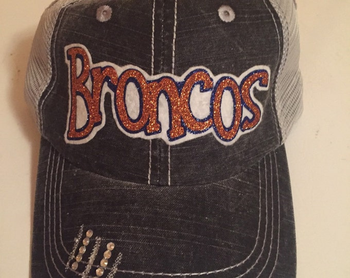 Broncos Mascot Hat, Football Fan Gear, Team Fan Gear, Personalized Womens, Rhinestone Hat, Womens Baseball Cap, Team Mom, Football Mom Hat