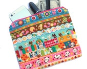 Kawaii Panda Bear Bag - Cute Panda Print Makeup Bag, cosmetic bag, pencil pouch, pencil bag, clutch with bears, dear, cats, bunnies