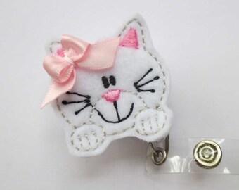 White Paw Kitty Badge Reel - Retractable Badge Reel - ID Holder