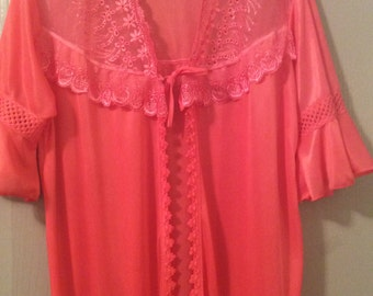 Duster/robe/nighty/open front/lace extra large/satiny nylon-short Bell sleeves ruffles new/long/flounce ruffled hem