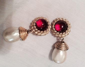 Gerard YOSCA red Crystal/Pearl  clip on earrings Goldtone/no flaws  signed/80s large vintage