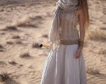 Natural Color Cotton Wrap Skirt ~