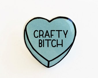 Crafty Bitch - Anti Conversation Blue Heart Pin Brooch Badge