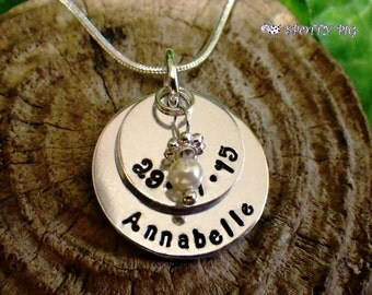 Personalised Gift Name & Date Swarovski Pearl Necklace Birth or Bridesmaid Gift, Baby, New Mum, Gift