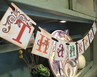 Thanksgiving Decoration Thankful Banner / Thanksgiving Banner - For Thanksgiving or Fall Decoration