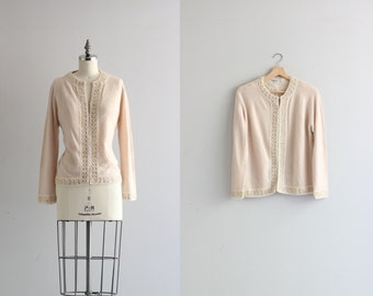 Soft Pink Beaded Cardigan . Sequined Cardigan Sweater . Retro 1950s Sweater