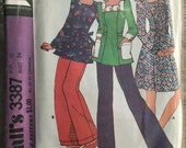 1972 McCall's Sewing Pattern 3387 Misses Tunic Top or Dress and Pants Size 12 cut- 1970s pattern, tunic dress pattern, tunic top, retro top