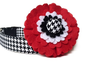 Houndstooth Dog Collar & Flower / Black White dog collar / Red Flower dog collar / Dog Collar Flower / Girl Dog Collar / Felt Flower Collar