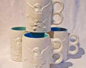 Eagle Mugs Chatham Potters Steins American Eagles Coffee Cups Cream Blue Man Gift Set of 4