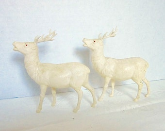 Christmas Vintage Deer White Celluloid Stags Woodland Decor Irwin 1940s or 1950s Set of 2