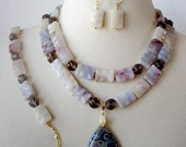 Chunky Statement Necklace, 3 Piece Set, Big Bold, Gemstone Necklace, Striped Agate Pendant, Gray, Brown, Earthtones
