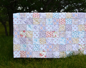 Shabby Chic Queen Size Rag Quilt, Fresh Spring