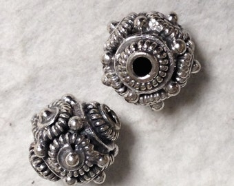 2 Sterling Silver Bead - Fancy  Large Sterling Bali Bead -  10.6mm - MB321L