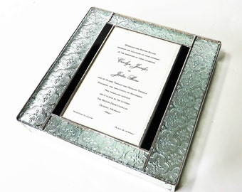 Elegant Stained Glass Wedding Gift Box Wedding Invitation Keepsake 10x10x2 Engagement Custom Made-to-Order One-of-a-Kind Unique Gift