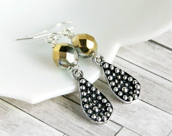 bubbles silver plated lever back drop earrings, dangle, beaded earrings, gold, silver, modern