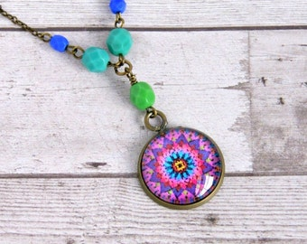 mystic mandala pendant, antique brass, cabochon, necklace, colorful, pink purple