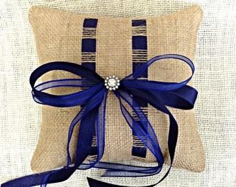 Navy Ring Bearer Pillow, Burlap Ring Bearer Pillow, Navy Ribbon Burlap Ring Pillow, Navy Ribbon Ring Pillow, Woven Ribbon Ring Pillow