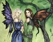 "SALE: Fairy Art Print / Fantasy Art / Renaissance Faire / Moon and Stars / Tree / Best Friends / "" Faire Maidens"" Jacqueline Collen-Tarrolly"