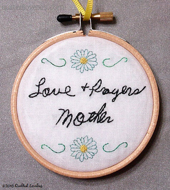 Hand embroidered signature of loved one embroidery