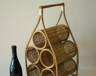 Vintage Mid Century Rattan Wine Rack, Storage,Summer Decor
