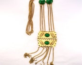 Vintage Bold Statement Necklace Tassels Multiple Chains Green Glass Cabs Faux Pearls