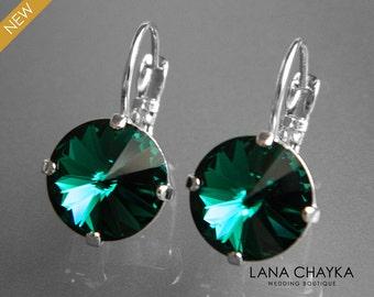 Emerald Crystal Earrings Swarovski Emerald Rivoli Silver Earrings Green Crystal Leverback Wedding Earrings Hypoallergenic Emerald Earrings