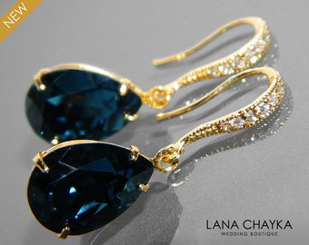 Navy Blue Gold Crystal Earrings Swarovski Montana Teardrop Earrings Dark Navy Blue Rhinestone Wedding Earrings Bridal Bridesmaids Jewelry