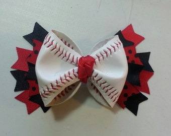 REAL Baseball Bow Barrette Red And Black Ribbons Can substitute ribbon colors.