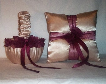 Champagne Satin With Burgundy Trim Flower Girl Basket And Ring Bearer Pillow Set 1